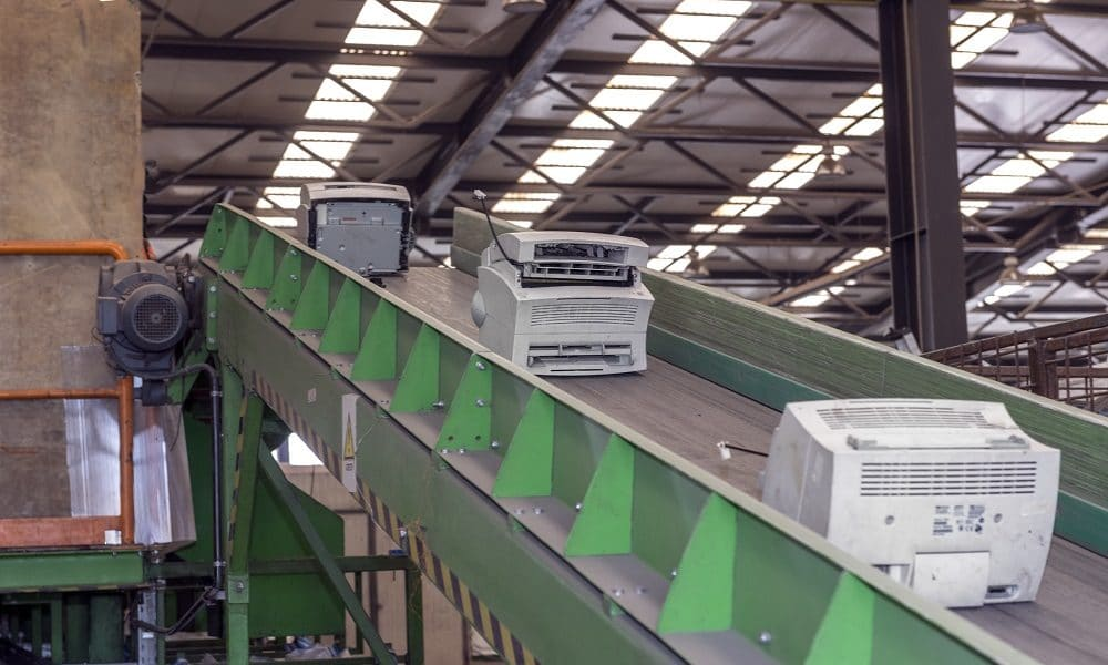 electronics on conveyor belt