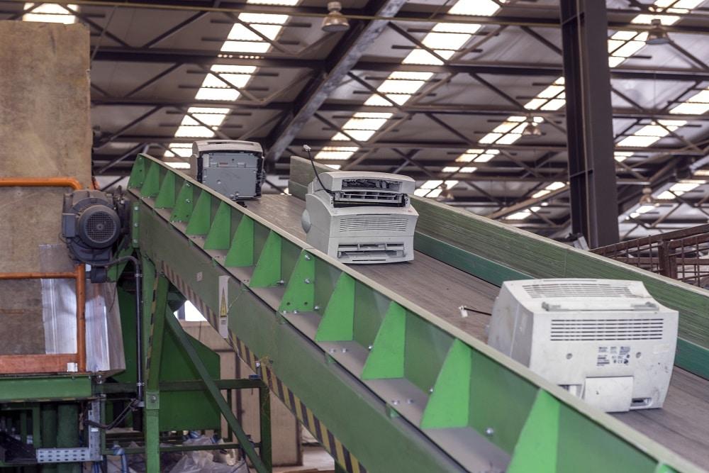 electronics on conveyor belt